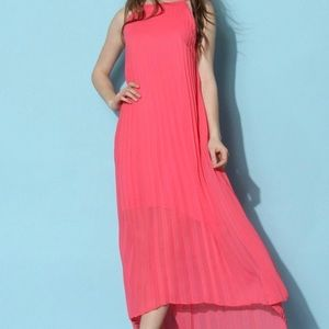 Chic Wish Pleated Pink Maxi Dress